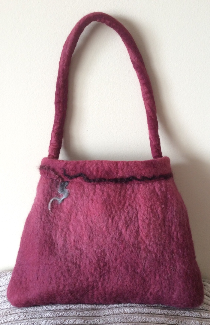 Wet felting…my first bag…updated