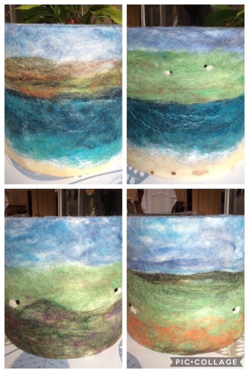 Highland Landscape Felted Lampshades